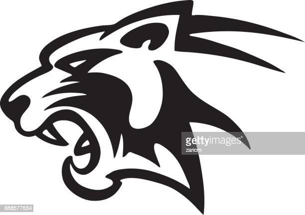 ilustraciones, imágenes clip art, dibujos animados e iconos de stock de cabeza de panter - tigre