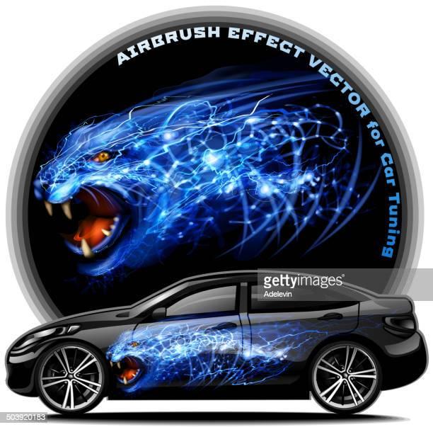 ilustraciones, imágenes clip art, dibujos animados e iconos de stock de panther aerógrafo efecto vector - leopardo