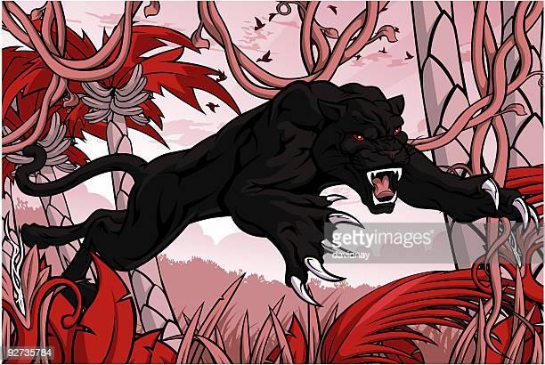 ilustraciones, imágenes clip art, dibujos animados e iconos de stock de panther ataque - puma