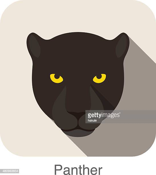ilustraciones, imágenes clip art, dibujos animados e iconos de stock de panther, raza de gato de historieta icono de diseño plano de cara - leopardo