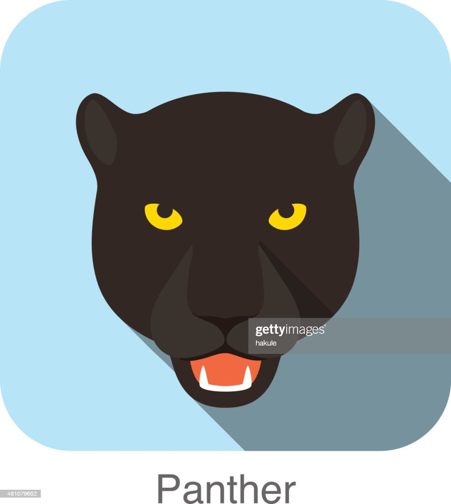 Panther, Cat breed face cartoon flat icon design