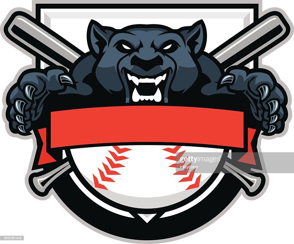 Panther jumping over a baseball design