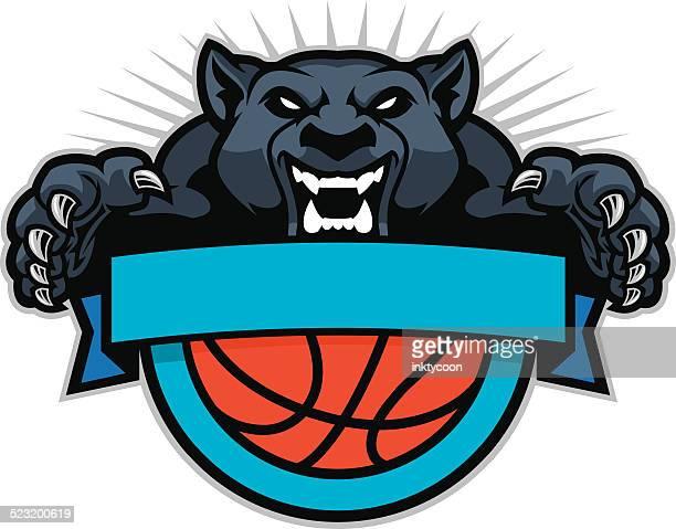 ilustraciones, imágenes clip art, dibujos animados e iconos de stock de panther salto en un diseño de baloncesto - puma