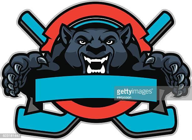 ilustraciones, imágenes clip art, dibujos animados e iconos de stock de panther salto en un diseño de hockey - hockey sobre hierba