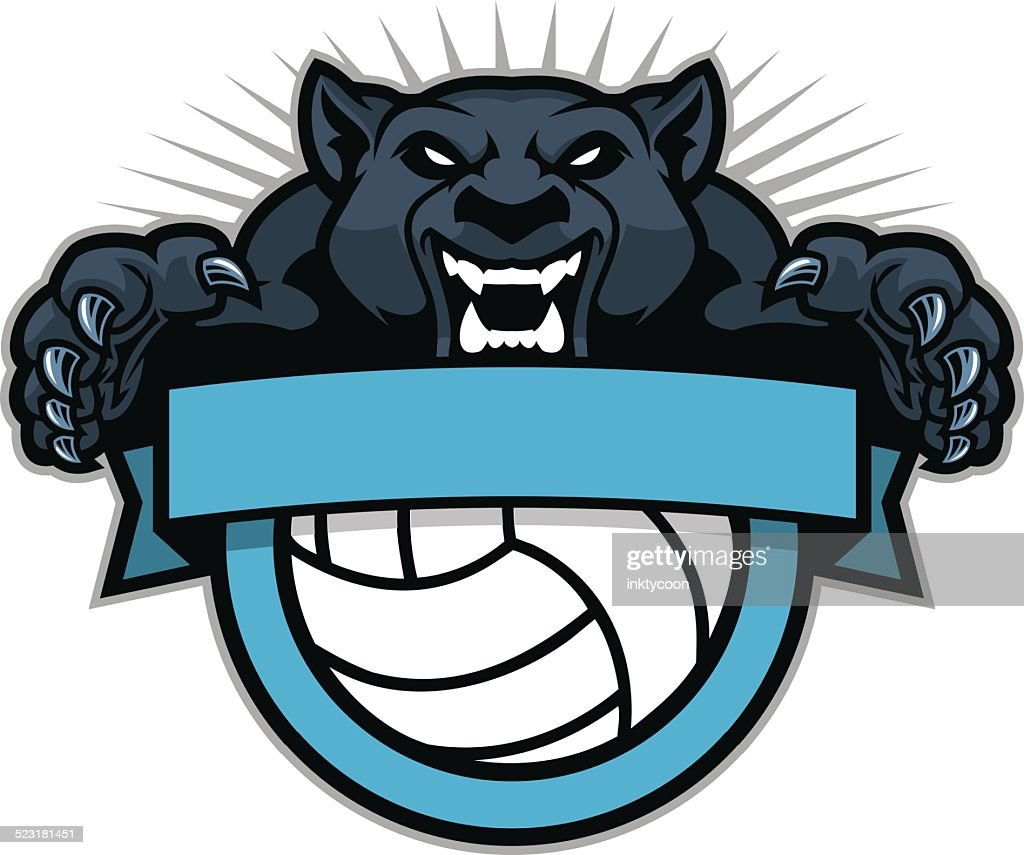 Panther jumping over a volleyball design
