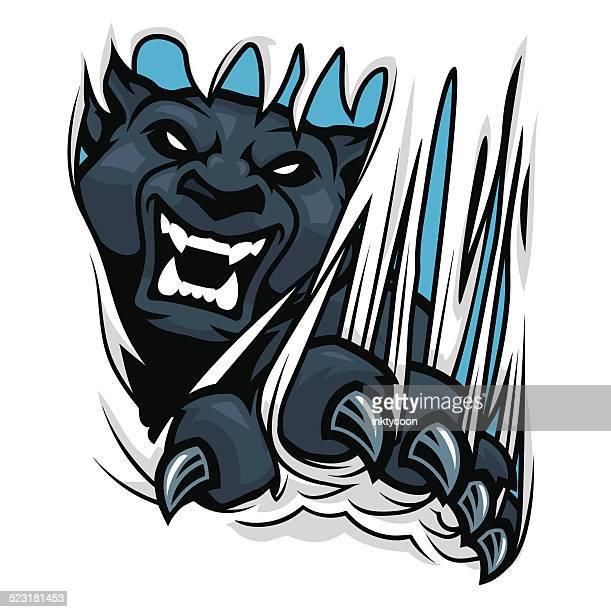 ilustraciones, imágenes clip art, dibujos animados e iconos de stock de panther ripping de material - leopardo