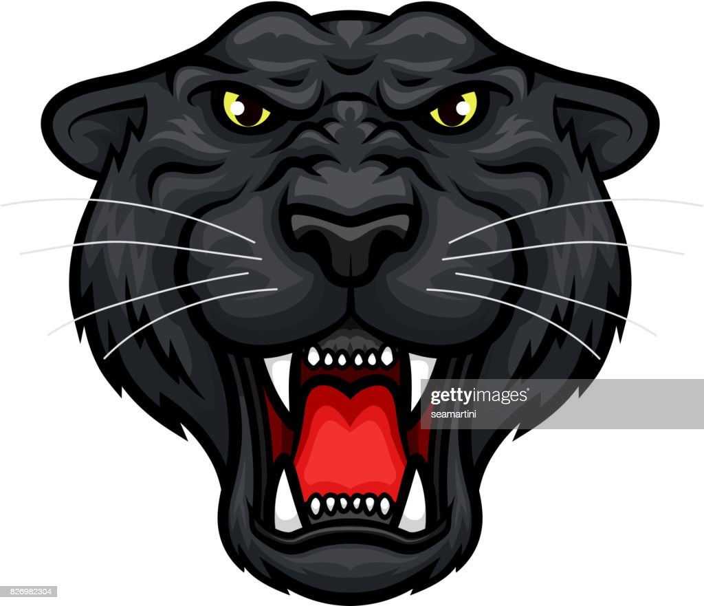 Panther roaring head muzzle vector mascot icon