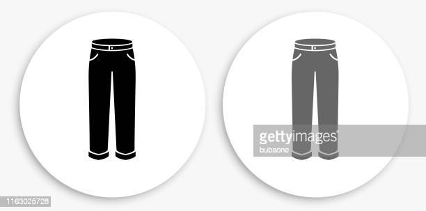 pants black and white round icon - trousers stock illustrations