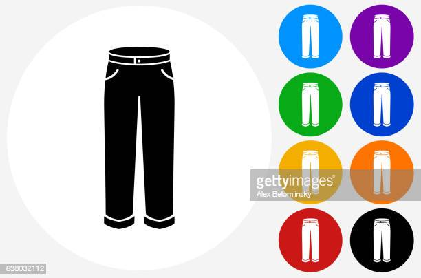 Pants Icon on Flat Color Circle Buttons