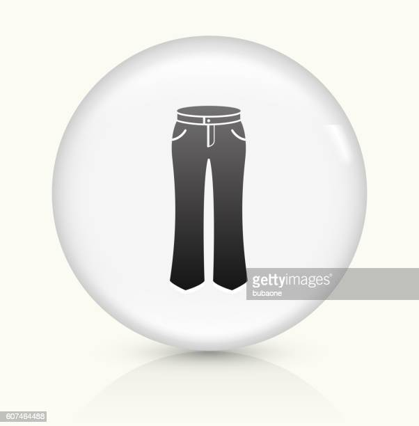 pants icon on white round vector button - jeans stock illustrations, clip art, cartoons, & icons