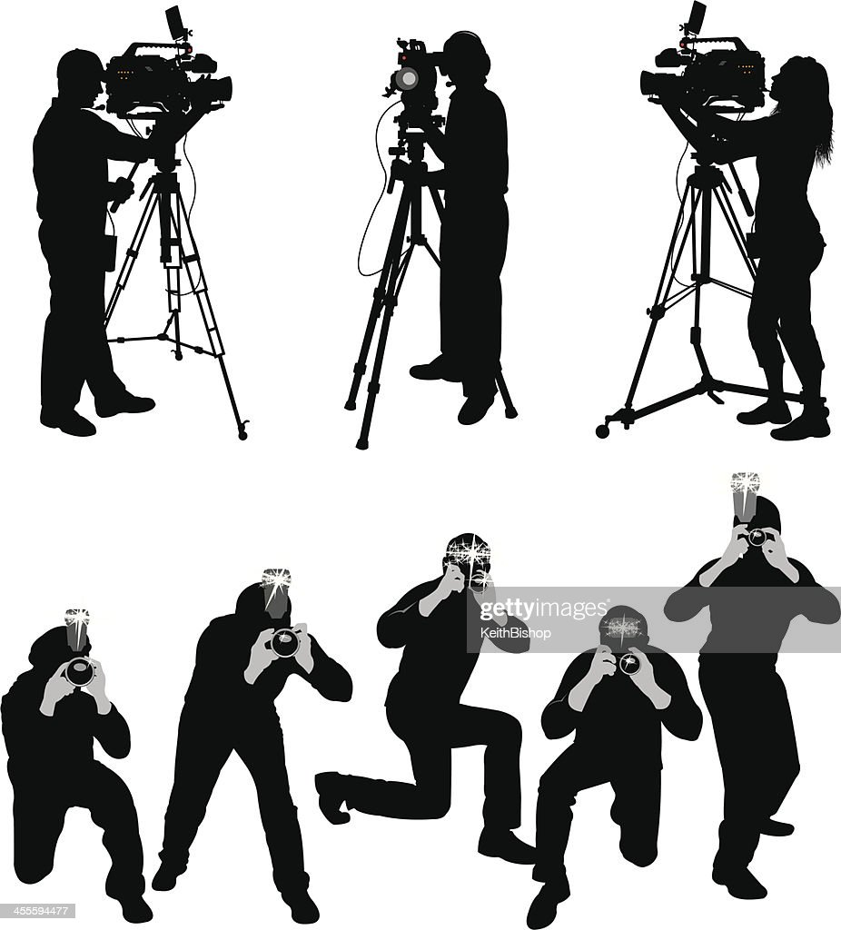 paparazzi and television crew vector art