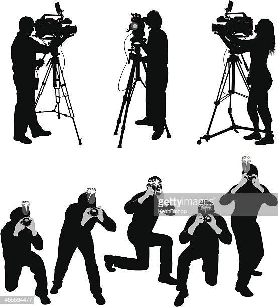 paparazzi and television crew - camera operator stock illustrations, clip art, cartoons, & icons