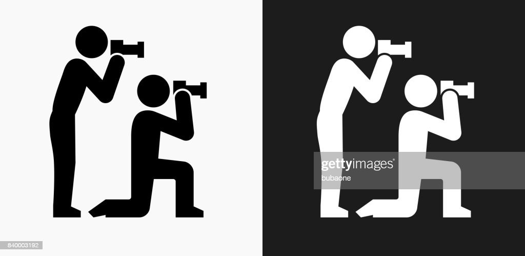 paparazzi icon on black and white vector backgrounds vector art