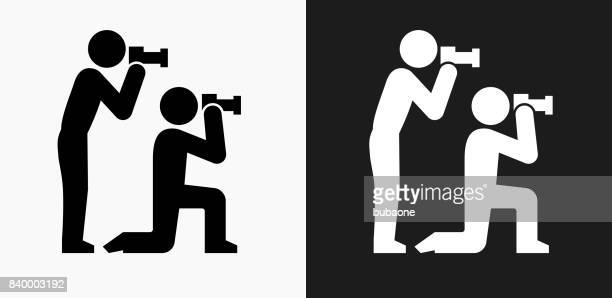 Paparazzi Icon on Black and White Vector Backgrounds