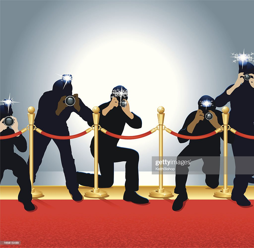 Paparazzi, Photojournalists - Photographers on Red Carpet : stock illustration