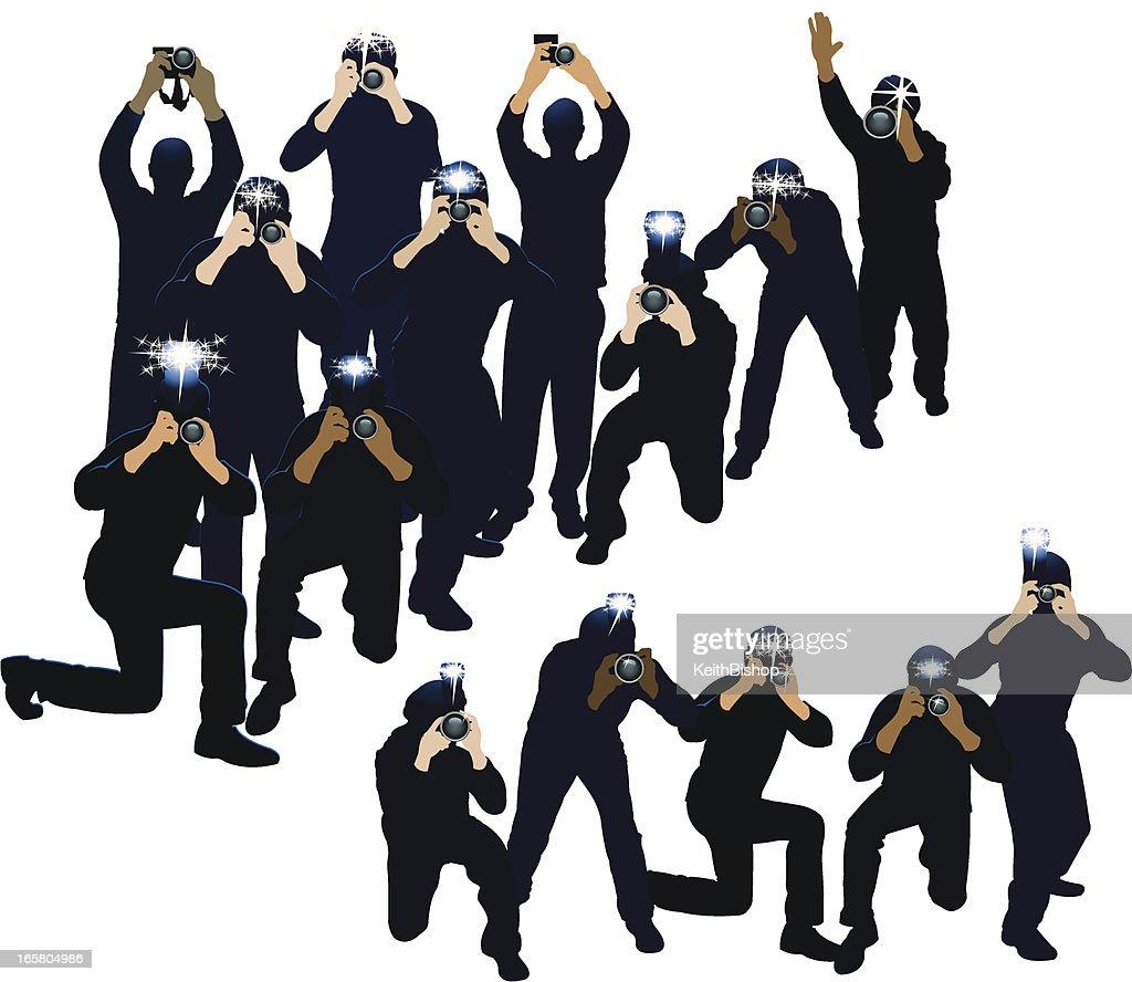 paparazzi photojournalists photographers vector art