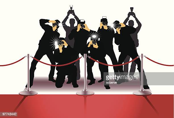 paparazzi - red carpet event stock illustrations