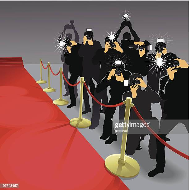 ilustraciones, imágenes clip art, dibujos animados e iconos de stock de paparazzi#2 - grupo mediano de personas