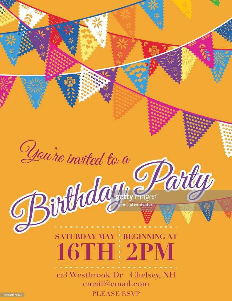 Papel Picado Banners Birthday Party Invitation Template Orange Stock