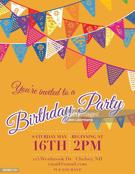 papel picado banners birthday party invitation template orange - happy birthday banner stock illustrations