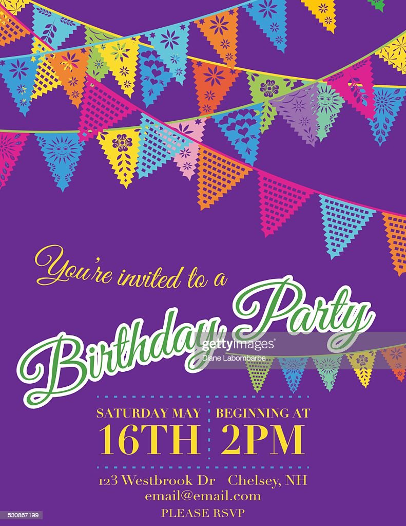 Papel Picado Banners Birthday Party Invitation Template Purple Stock