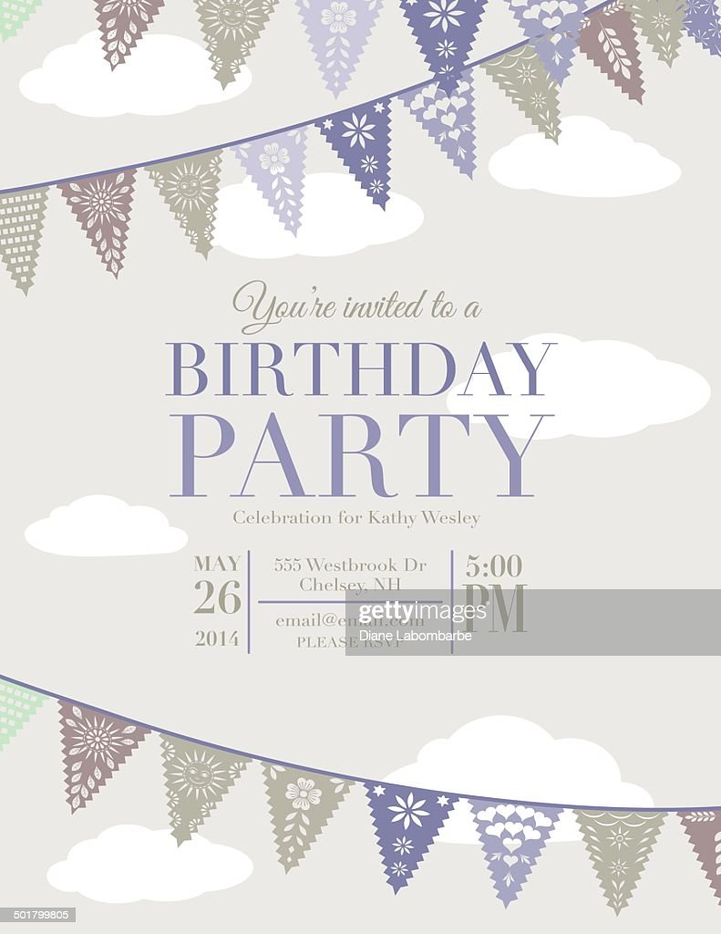 Papel Picado Banners Birthday Party Invitation Template Vector Art ...