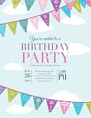 Papel Picado Banners Birthday Party Invitation Template