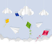 Paper airplane and kite in the sky. Cartoon flat vector illustration. Objects isolated on a