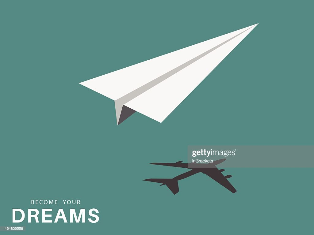 Paper airplane and silhouette of airplane