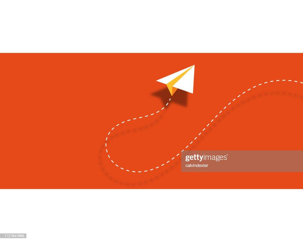 Papier Flugzeug Hintergrund Design Visitenkarte Stock