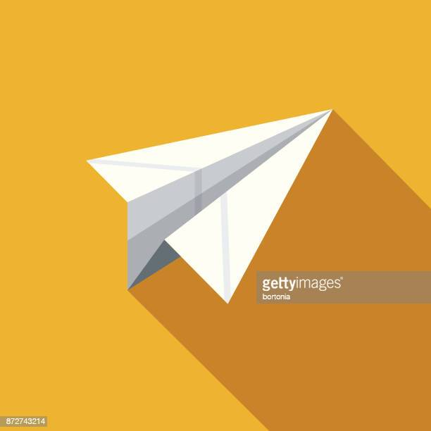 paper airplane flat design education icon with side shadow - paper airplane stock illustrations, clip art, cartoons, & icons