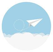 paper airplane Flat Design