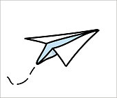 Paper airplane flying icon. Vector doodle illustration