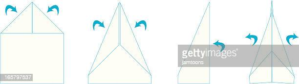 paper airplane folds - paper airplane stock illustrations, clip art, cartoons, & icons