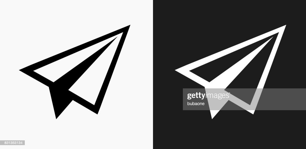 Paper Airplane Icon on Black and White Vector Backgrounds