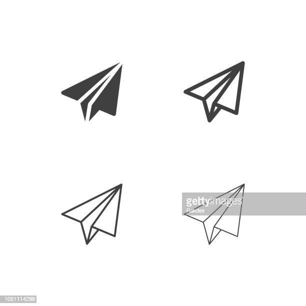paper airplane icons - multi series - origami stock illustrations