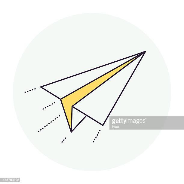 illustrazioni stock, clip art, cartoni animati e icone di tendenza di aeroplano di carta simbolo - aeroplano di carta