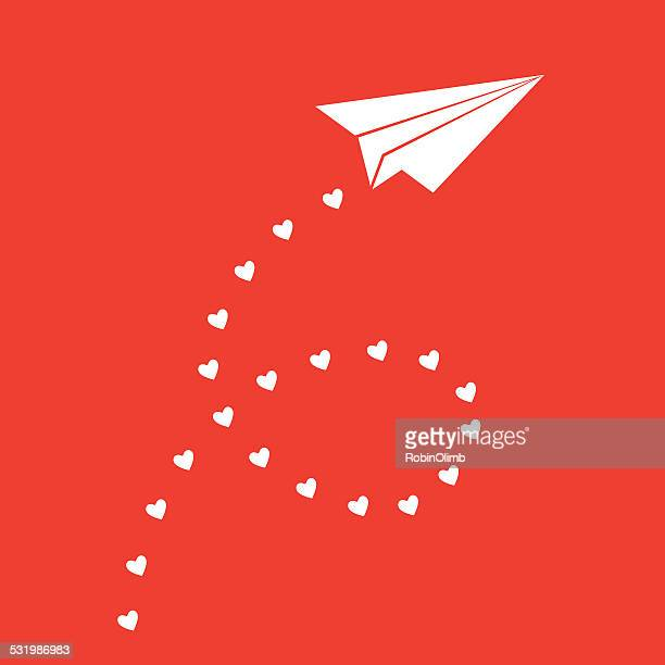 paper airplane valentine - paper airplane stock illustrations, clip art, cartoons, & icons