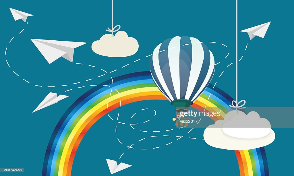 Paper airplane with balloon and rainbow