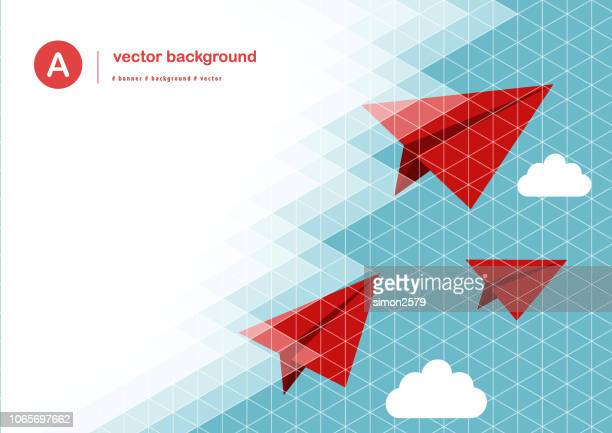 paper airplane with color pixels pattern background - paper airplane stock illustrations, clip art, cartoons, & icons