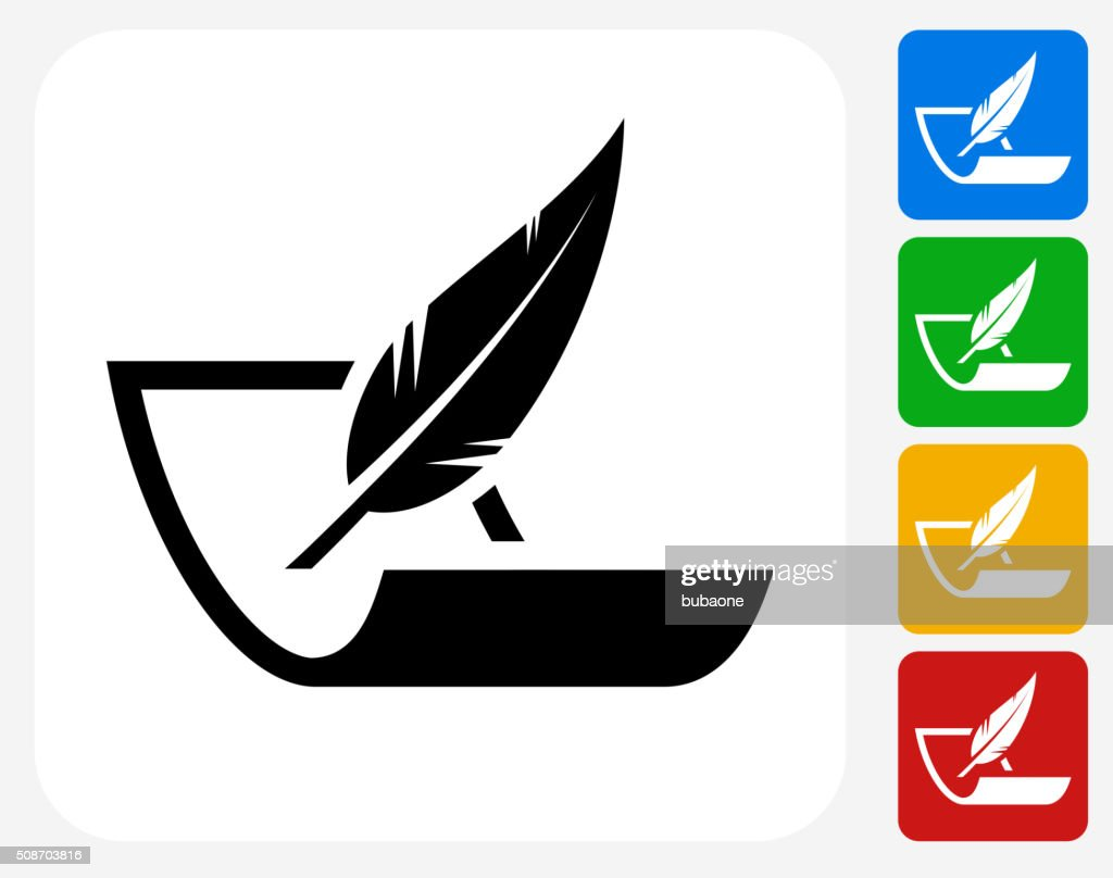 Paper and Feather Pen Icon Flat Graphic Design