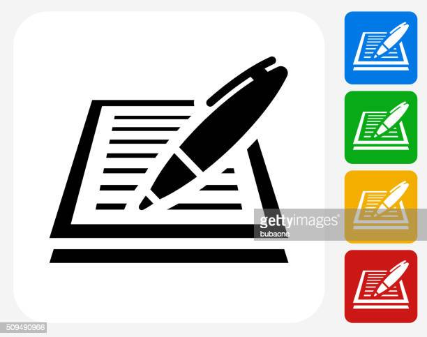 paper and pen icon flat graphic design - ballpoint pen stock illustrations, clip art, cartoons, & icons