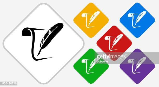 paper and quill color diamond vector icon - quill pen stock illustrations