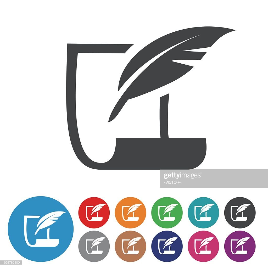 paper and Quill Icons - Graphic Icon Series : stock illustration