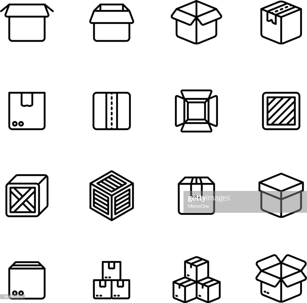 Paper and wood box line icons. Shipping packing outline vector pictograms