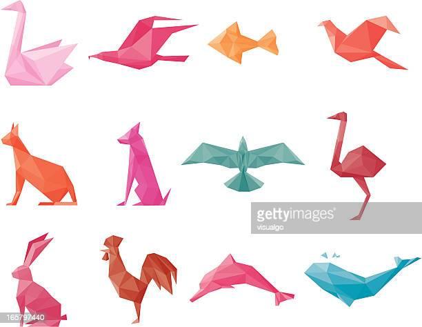 paper animals - falcons stock illustrations, clip art, cartoons, & icons
