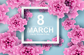 Paper art and craft of 8 march with flower women's day and origami concept, vector,illustration.
