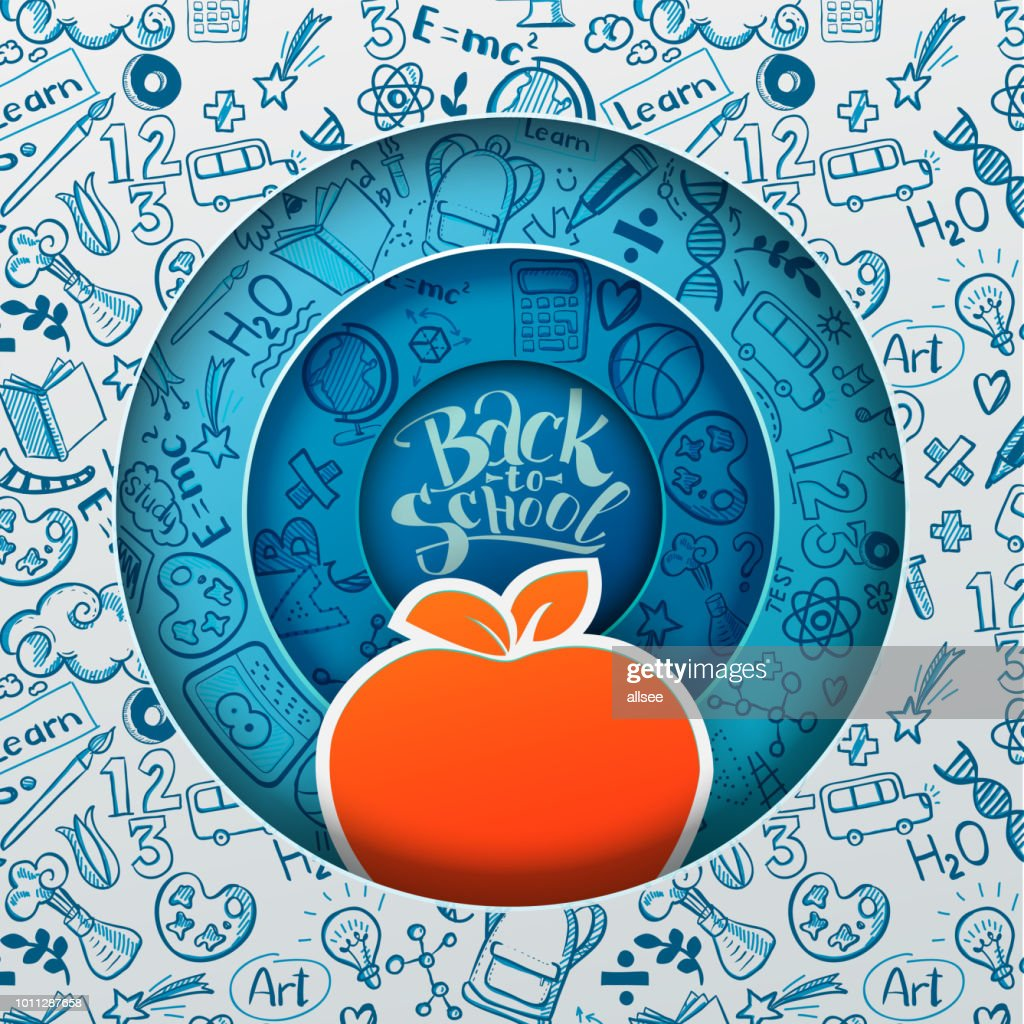 Paper art back to school and ornage apple