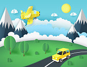 Paper art background, yellow airplane in the sky, car on the road near mountains, green lawn with trees and bushes. Fluffy paper clouds and sun. Vacation and travel concept. Vector illustration