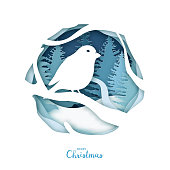 Paper art, bird on tree branch in winter forest. Origami concept nature. Merry Christmas. Vector illustration.